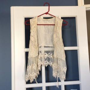 Women's/ladies lacy pullover vest cardigan